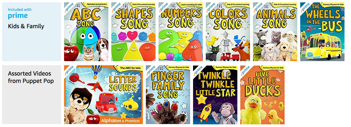 Kids Nursery Rhymes and Learning Songs on Amazon